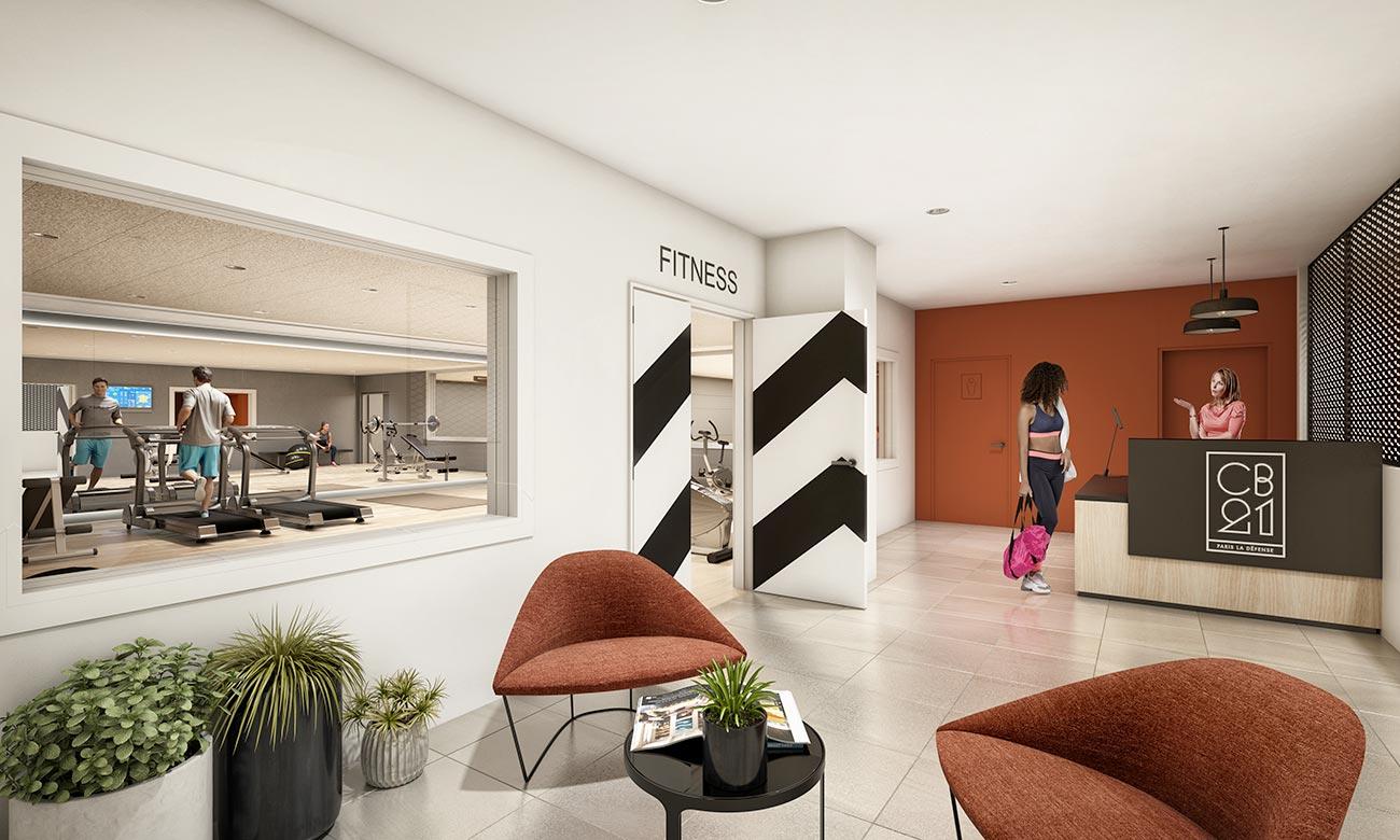 Espace Fitness, salle de sport - immeuble bureaux Tour CB21 Paris La Défense
