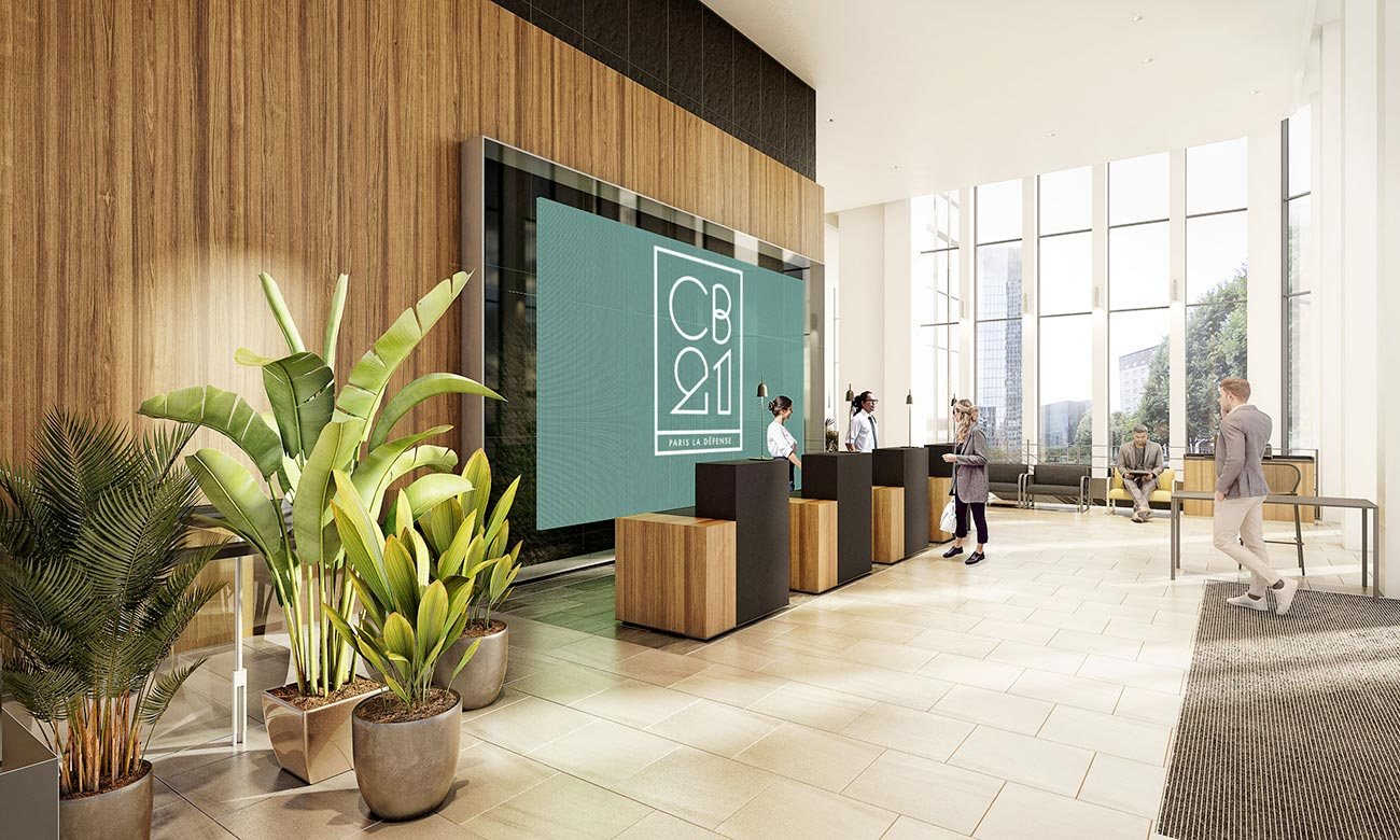 Hall d'accueil - immeuble bureaux Tour CB21 Paris La Défense