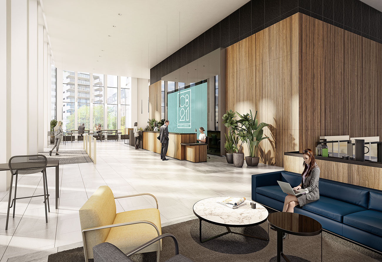 Hall d'accueil Takis, espace wifi, immeuble bureaux Tour CB21 Paris La Défense