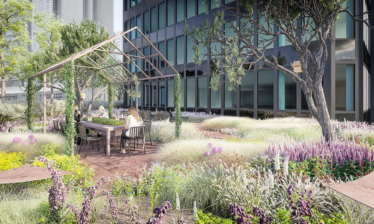 jardin immeuble bureaux Tour CB21 Paris La Défense